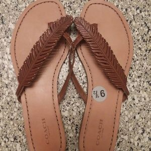 Coach feather leather sandals